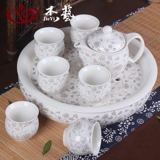 Specials boutique jingdezhen tea set ceramic teapot teacup of a complete set of blue and white porcelain double take tea tray