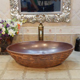 Jingdezhen ceramic lavatory basin basin sink art stage basin oval ancient yellow blue