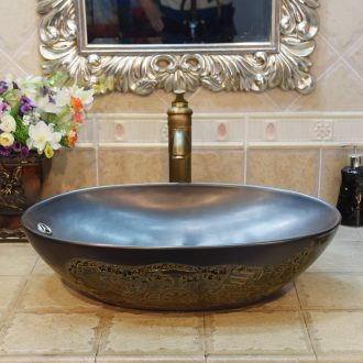 Jingdezhen ceramic lavatory basin stage art basin sink oval blackish green carriage