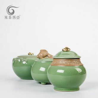 East west tea pot of ceramic pot large puer tea pot shengchan dui caddy fixings large green POTS sealed as cans elder brother up