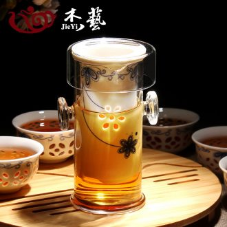 Ceramic glass tea set a complete set of black tea, black tea teapot ears tea exquisite blue and white porcelain kung fu tea set