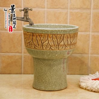Jingdezhen ceramic new crack imitation stone carving leaves the mop pool mop pool mop bucket of mop bucket under the sink