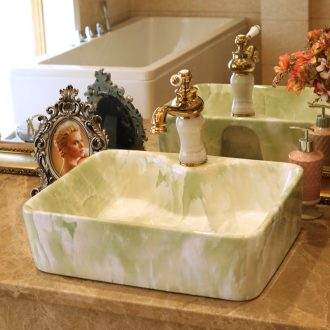 Jingdezhen ceramic stage basin to the lavatory basin art imitation marble square has a tap hole 324 d 4