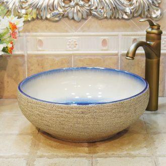 Jingdezhen ceramic lavatory basin stage art basin sink frosted grey color glaze up