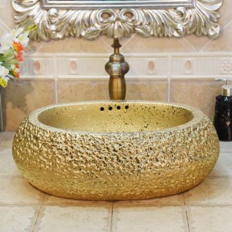 Jingdezhen ceramic lavatory basin basin sink art on elliptic gold - plated with excessive water basin