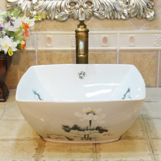 Jingdezhen ceramic lavatory basin stage basin, art basin sink square double surplus water white lotus