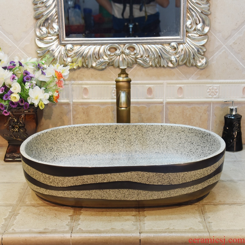 Jingdezhen ceramic lavatory basin basin sink art stage basin yellow ellipsoid bottom carved square black lines