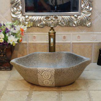 Jingdezhen ceramic lavatory basin stage basin basin sink lip double rose grey art