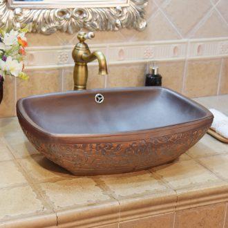 Jingdezhen ceramic wash basin stage basin square antique imitation wood carving art basin sink spend double surplus water
