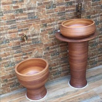 Jingdezhen ceramic basin of bath lavatory basin stage art basin sink pillar three - piece jump cut