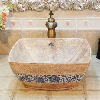 Jingdezhen ceramic lavatory basin basin sink art stage sifang stone lotus flower double surplus water