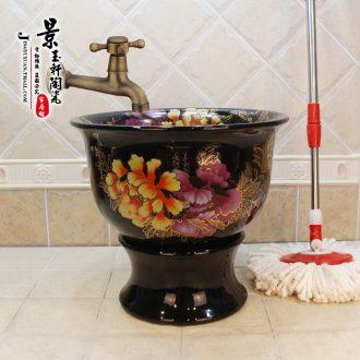 Jingdezhen ceramic new black sharply red yellow peony fission mop pool mop pool the mop bucket