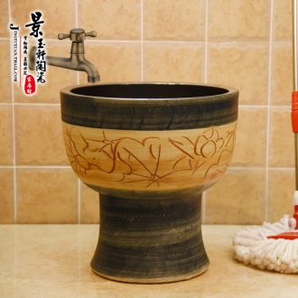 Jingdezhen ceramic imitation stone lotus mop mop pool art basin conjoined mop pool