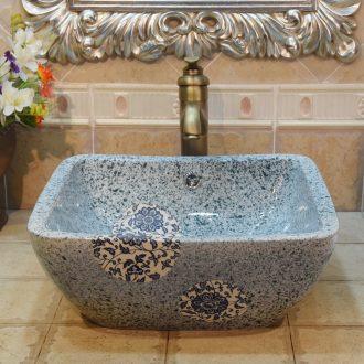 Jingdezhen ceramic lavatory basin basin sink art stage double surplus water square, green and blue tie