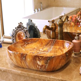 Jingdezhen ceramic stage basin lavatory basin art imitation marble basin sink elliptic party 626 5