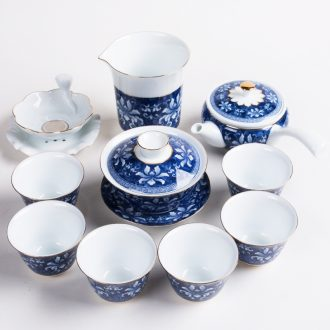 Bin, high - end household kung fu tea set of blue and white porcelain of a complete set of creative ceramic teapot teacup tea gift porcelain