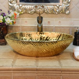 Jingdezhen ceramic lavatory basin basin art on the sink basin birdbath oval gold - plated