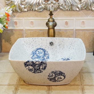 Jingdezhen ceramic lavatory basin basin sink art stage four overflow water ice name plum beast