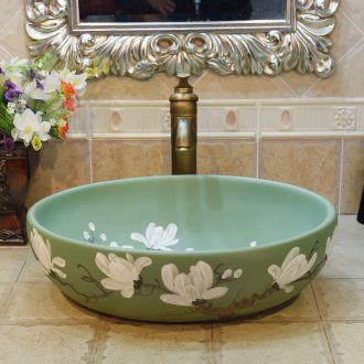 Jingdezhen ceramic lavatory basin stage basin, art basin sink oval green demand