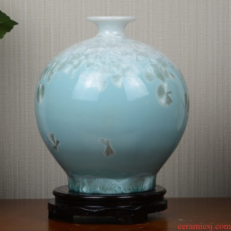 Jingdezhen crystalline glaze ceramic vase dried flowers flower arrangement sitting room European - style table creative household soft adornment is placed