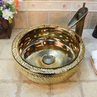 Jingdezhen ceramic lavatory basin stage art basin sink gold - plated waist drum dance knife