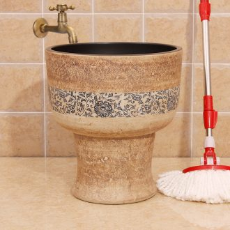 Jingdezhen porcelain stone wrapped branch lotus conjoined mop pool water saving mop pool mop bucket number under the sink