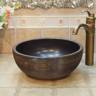 Jingdezhen retro basin brown wiredrawing frosted color glaze ceramics small 35 the sink basin that wash a face wash basin