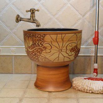 Jingdezhen ceramic mop pool mop pool under one antique carved lotus pool sewage pool the mop bucket