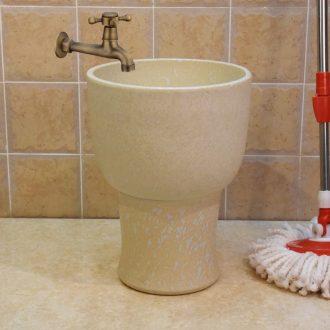 Jingdezhen ceramic trumpet 30 retro mop pool cream - colored one - piece art mop pool mop bucket under the sink