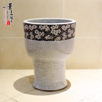 Jingdezhen ceramic 30 - centimeter small crack ice may mop pool mop pool mop bucket under the sink
