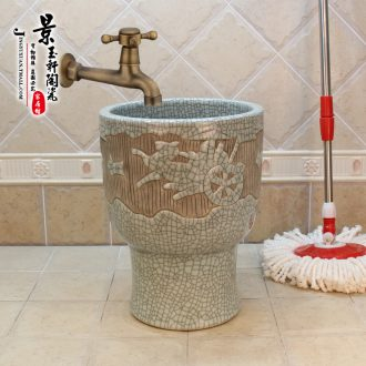 Jingdezhen ceramic new crack 30 cm carriage art carving mop pool mop pool the mop bucket