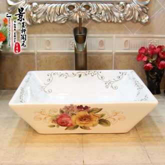Jingdezhen ceramic lavatory basin stage art basin sink square rose sanitary ware