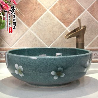 Jingdezhen ceramic lavatory basin basin art on the sink basin water, green and blue cherry blossoms