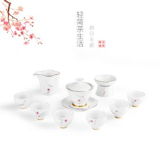 Jade white porcelain ceramic kung fu tea set kit household contracted tureen tea cups set set of jingdezhen tea service