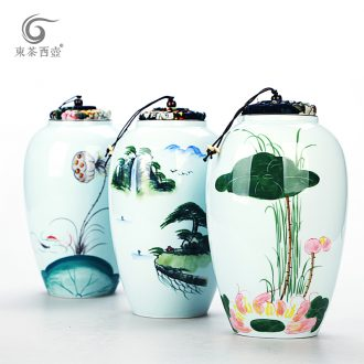 East west tea pot of celadon receives puer tea box ceramic storage tank tea urn seal pot hand - made caddy fixings size