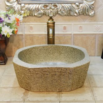 Jingdezhen ceramic lavatory basin basin sink art stage star anise diamond shaped birdbath bai maji stone