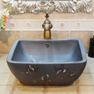 Jingdezhen ceramic lavatory basin basin sink art on four sides with brown demand overflowing