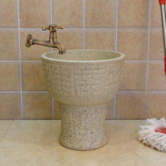 Jingdezhen ceramic grinding shallow carving art grain mop pool balcony mop pool floor mop basin mop bucket mop bucket