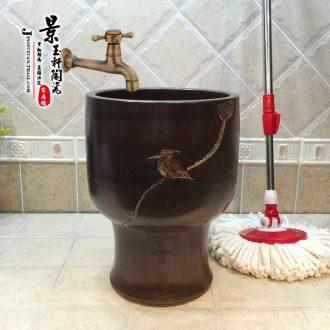 Jingdezhen ceramic new 30 cm small mop pool imitation stone ancient waterfowl art mop pool the mop bucket