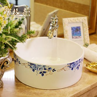 The package mail on bonsai, ceramic lavabo that defend bath lavatory basin, art basin straight barrel blue peony