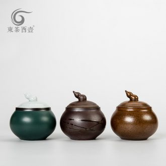 East west pot of ceramic small tea box storage jar airtight jar of puer tea pot lid gourd tea pot trumpet