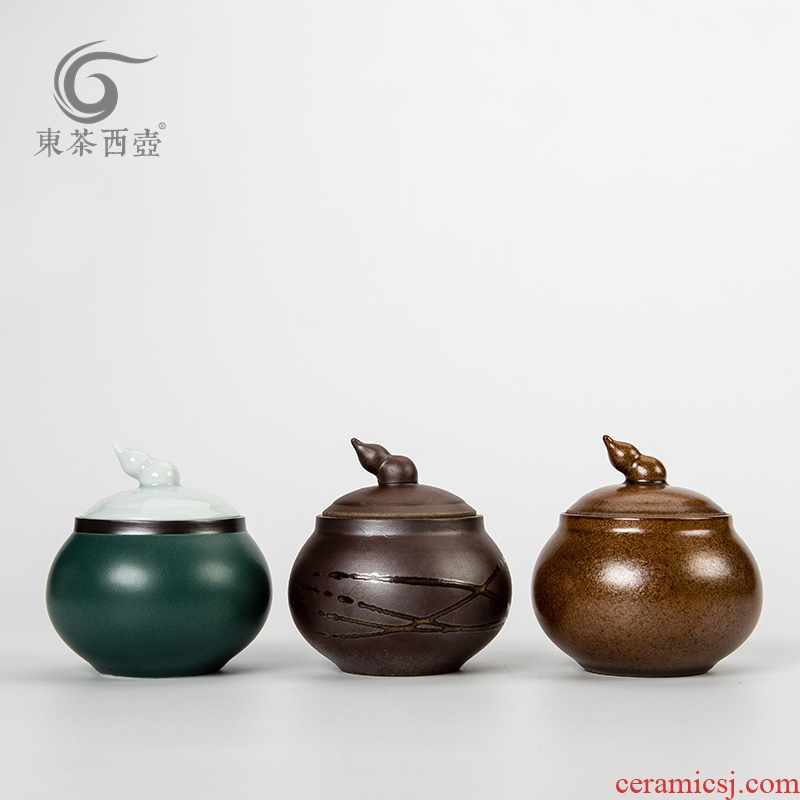East west pot of ceramic small tea box storage jar airtight jar of puer tea pot lid gourd tea pot trumpet