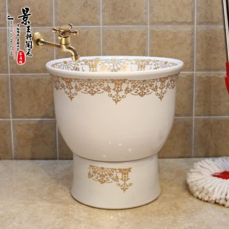 Jingdezhen ceramic art mop mop bucket mop pool under the reflecting pool fission golden flowers many mop bucket