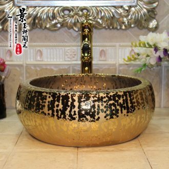 Jingdezhen ceramic lavatory basin basin art on the sink basin birdbath gold - plated waist drum