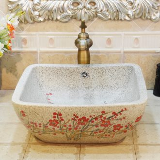Jingdezhen ceramic lavatory basin basin sink art stage double square grey overflowing red berries