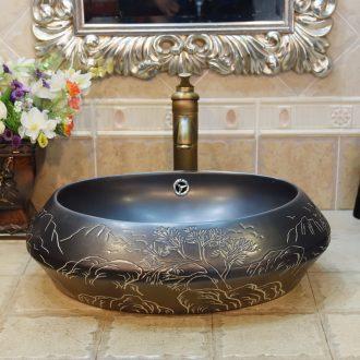 Jingdezhen ceramic lavatory basin basin art on elliptic black rock landscape