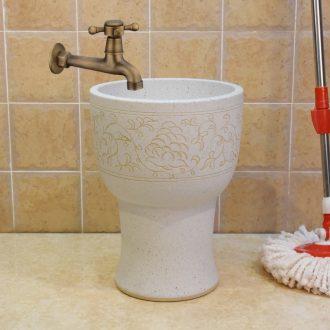 The Mop bucket of jingdezhen ceramic Mop pool pool sewage pool under 30 cm frosted lotus flower