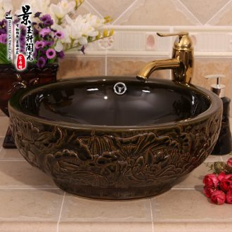 Jingdezhen ceramic art basin double with blackish green lotus carving overflowing ceramic face basin on the lavatory basin
