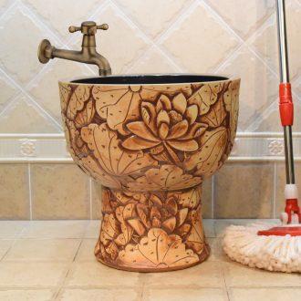 Jingdezhen ceramic antique mop pool mop pool art deep carved lotus pool sewage pool under the mop bucket