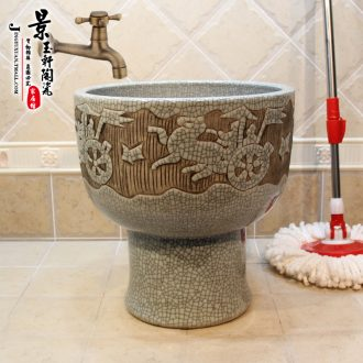 Jingdezhen ceramic art mop cart mop pool bath bucket new crack mop pool the mop bucket